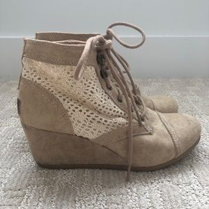 Mad Love Tan Crochet and Faux Suede Wedge Booties